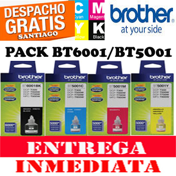 PACK BROTHER BOTELLA BT6001BK, BT5001 NEGRO CYAN MAGE YELLOW