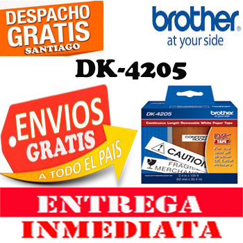 ETIQUETA BROTHER DK-4205 ROLLO 62MM 30.48 MTS BLANCO