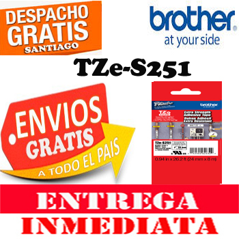 ETIQUETA BROTHER TZe-S251 24mm x 8mts Negro sobre Blanco