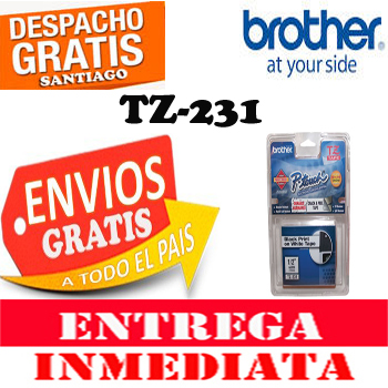 ETIQUETA BROTHER TZ-231 12MM x 8 Mts Negro Sobre Blanco